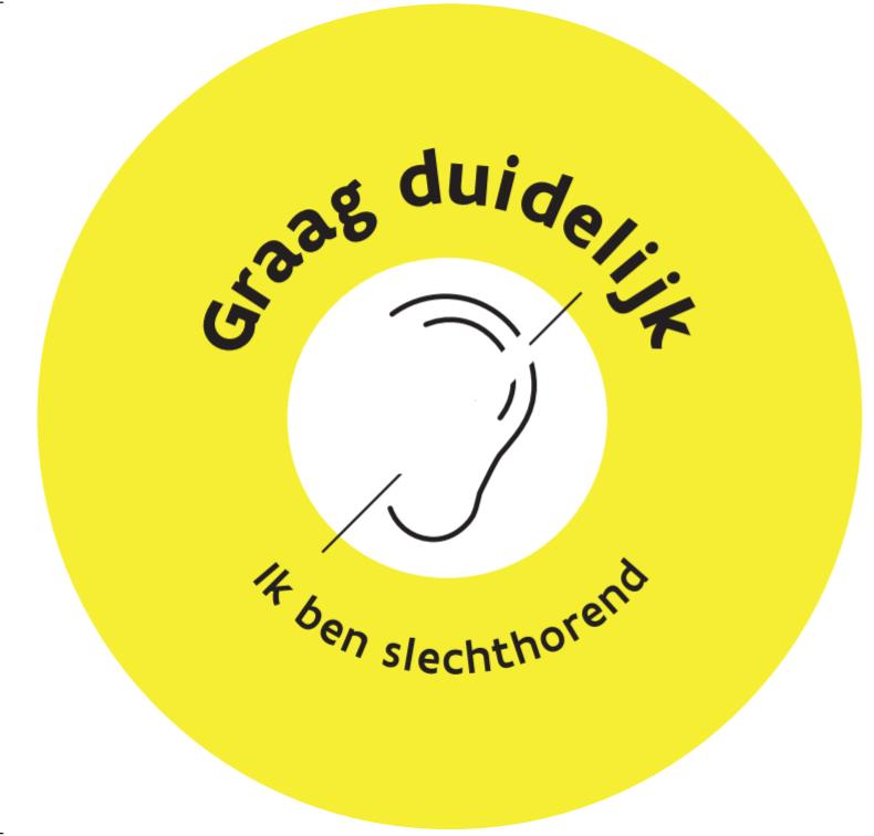 """Button met icon oor met streep door + tekst """"ik ben slechthorend"""""""