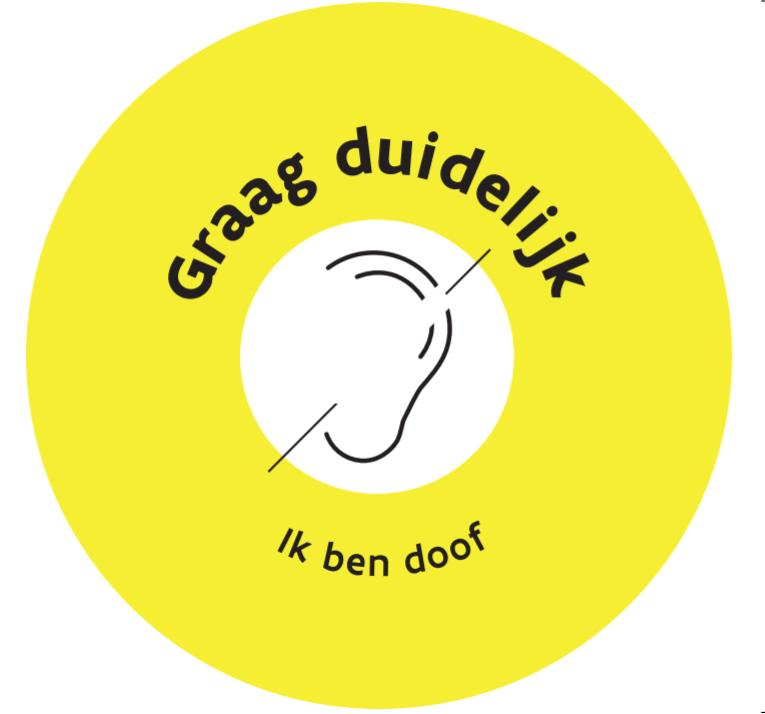 """Button met icon oor met streep door + tekst """"ik ben doof"""""""