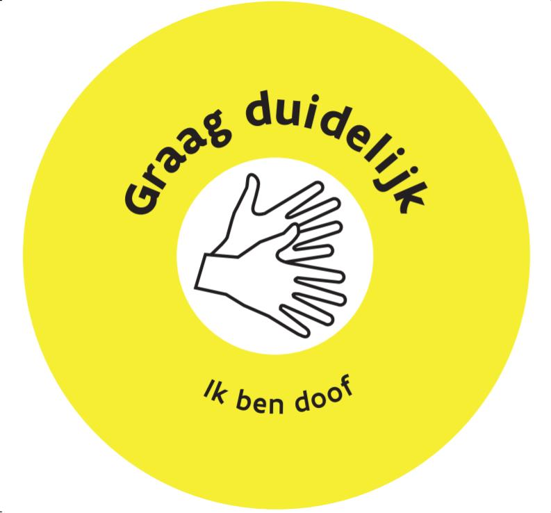 """Button met icon gebarende handjes + tekst """"ik ben doof"""""""