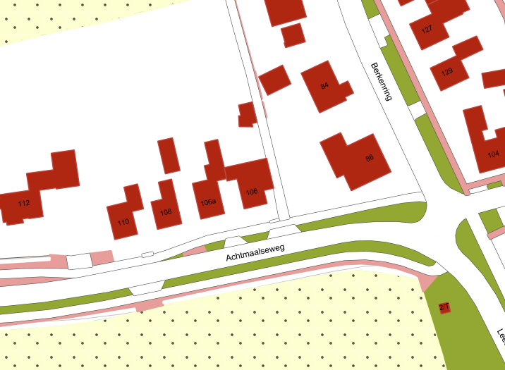 Basiskaart Grootschalige topografie (BGT - Nederland): vlakgerichte indeling van de weg