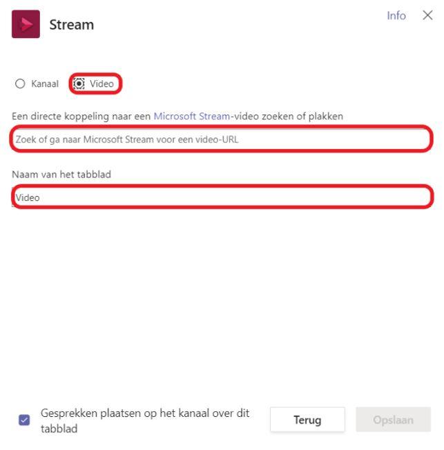 Stream tabblad toevoegen