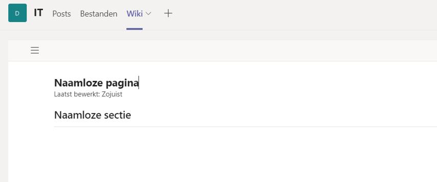Wiki in teams