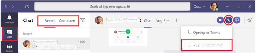 Bellen vanuit je chatlijst