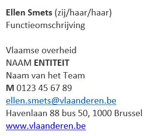 Voorbeeld e-mailhandtekening Ellen Smets (zij/haar), functieomschrijving