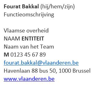 Voorbeeld e-mailhandtekening Fourat Bakkal (hij/hem), functieomschrijving