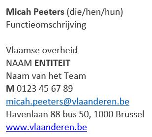 Voorbeeld e-mailhandtekening Micah Peeters (die/hun), functieomschrijving