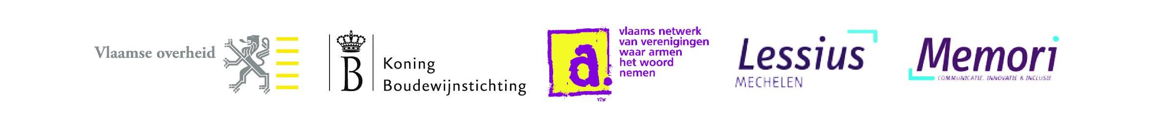 Afbeeldign met de logo's van de projectpartners achter het draaiboek In Vijf Stappen Communiceren met Mensen in Armoede (februari 2012)