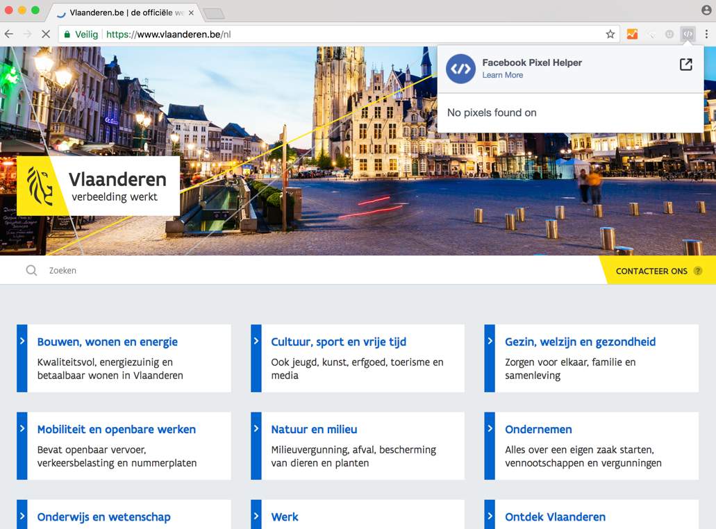 Vlaanderen.be Facebook Pixel Helper