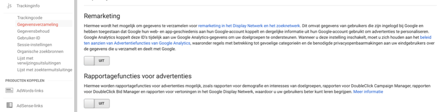 Advertentiefuncties Google Analytics instellen