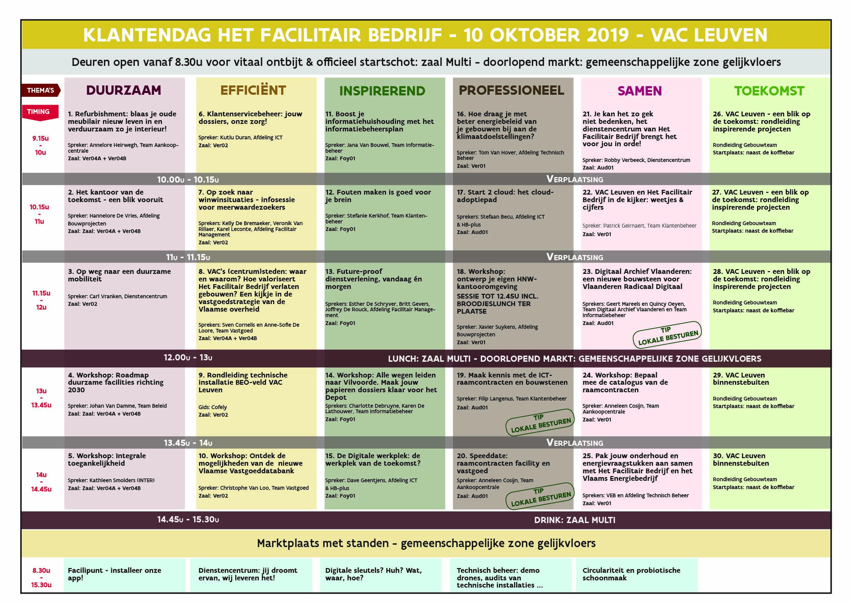 Roadshow Het Facilitair Bedrijf - Klantendag VAC Gent 8/10/2019 - programmaoverzicht