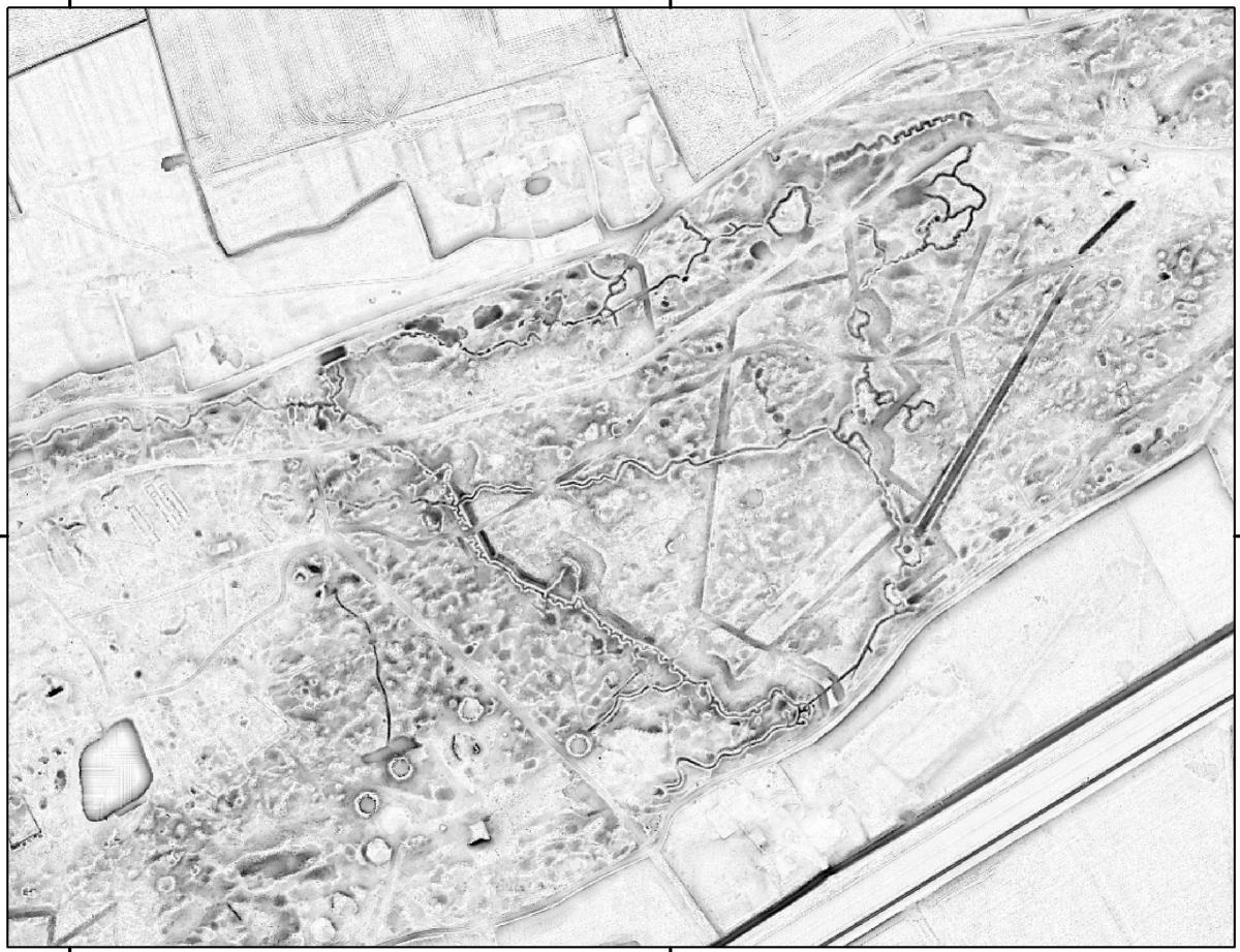 sporen van de Eerste Wereldoorlog in hoogtegegevens