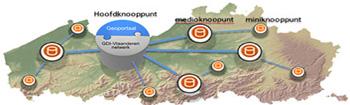 schematische voorstelling van hoofd- medio- en miniknooppunten op kaart van Vlaanderen