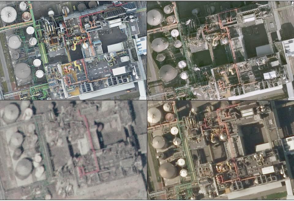 4 verschillende luchtfoto's van een industriele installatie