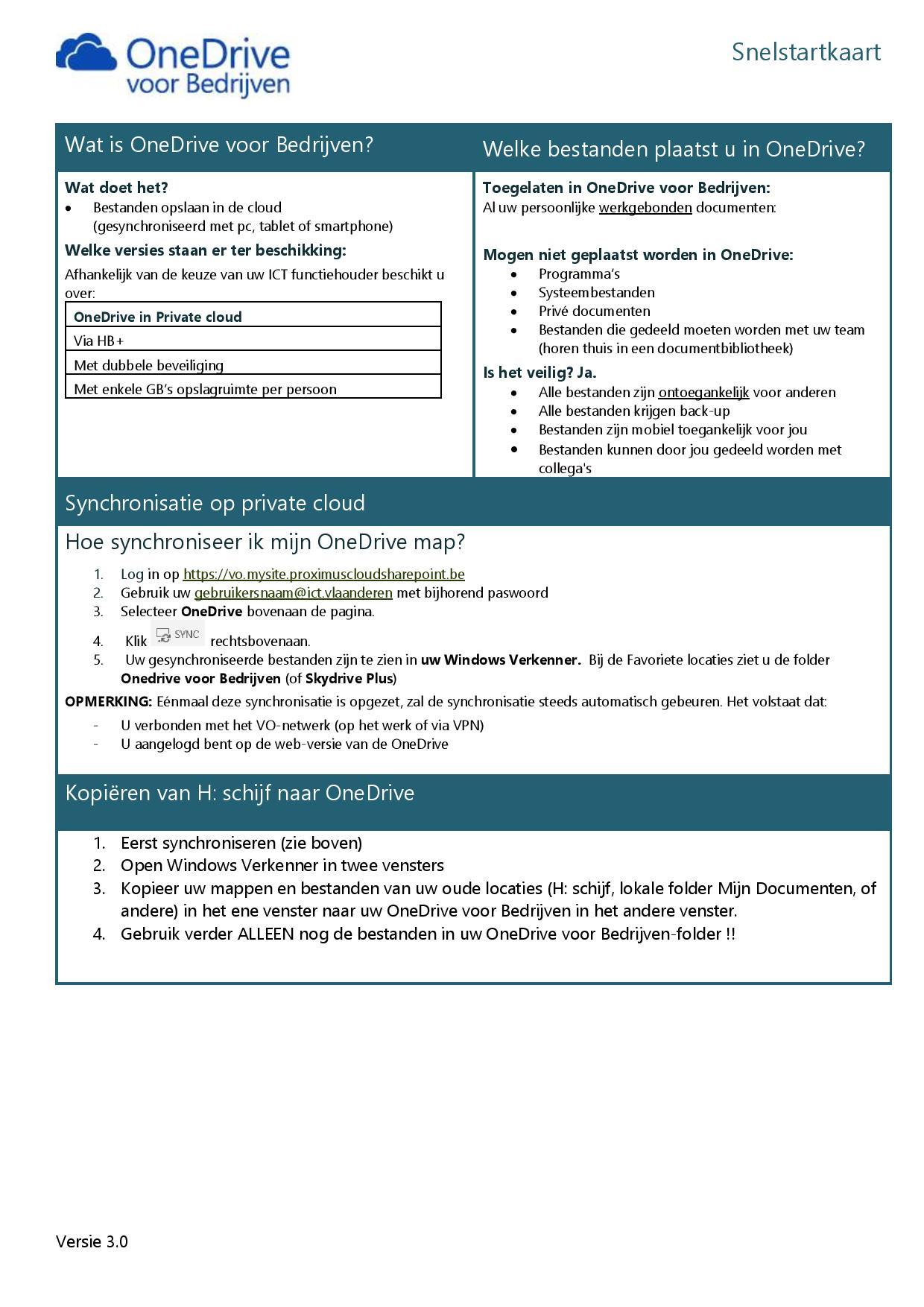 Snelstartkaart OneDrive Private - 1