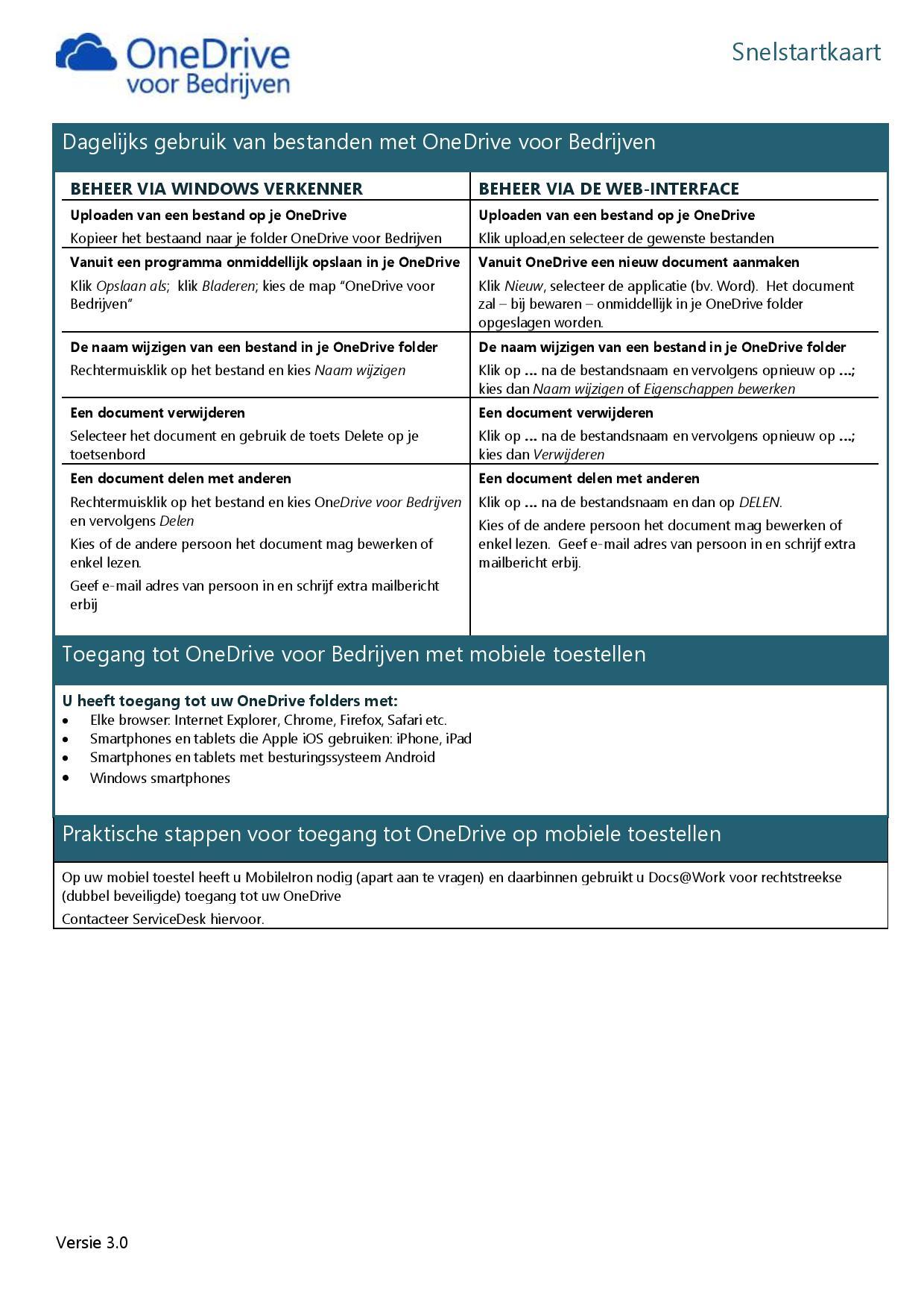 Snelstartkaart OneDrive Private - 2