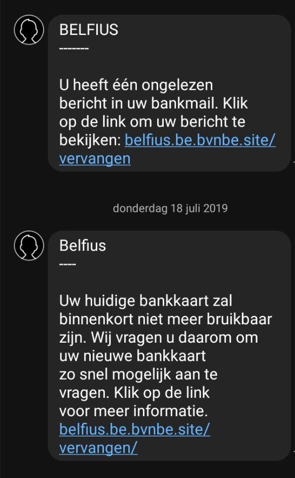 Voorbeeld phishing-bericht Belfius