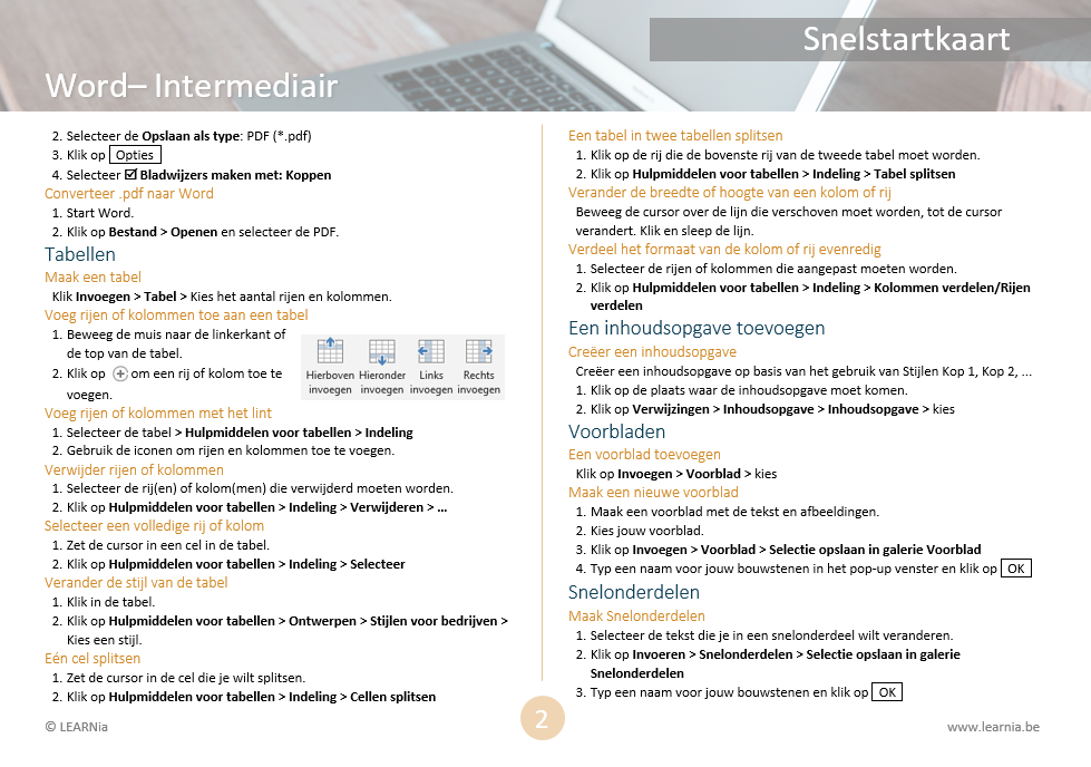 Snelstartkaart Word Intermediair