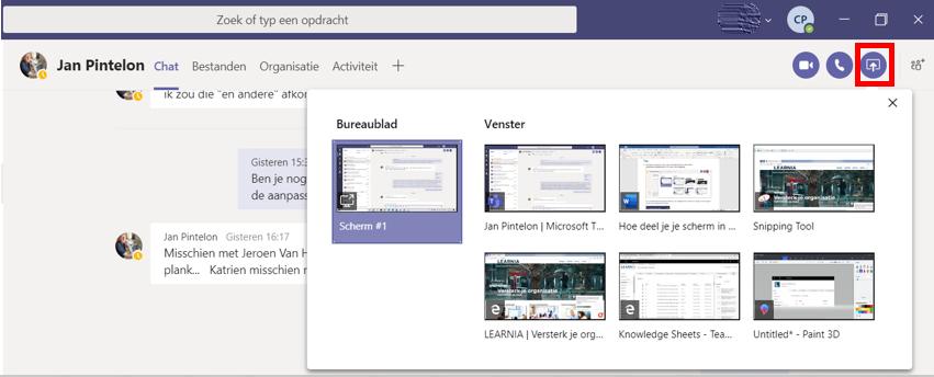 Je scherm delen in een chat