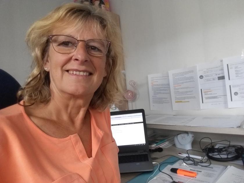 Patricia Uyttersprot aan het werk.