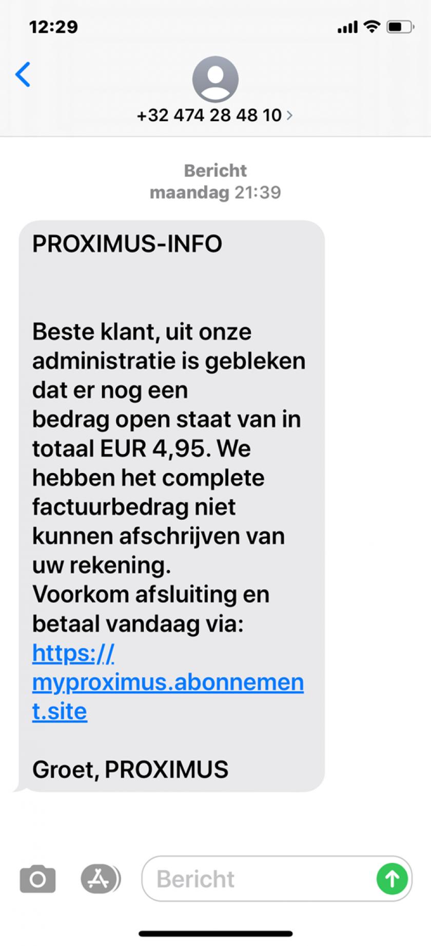 Frauduleus sms-bericht