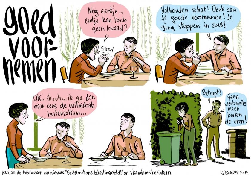 Goed voornemen - Strip door Simon Spruyt (tekst ook uitgeschreven onder het beeld)
