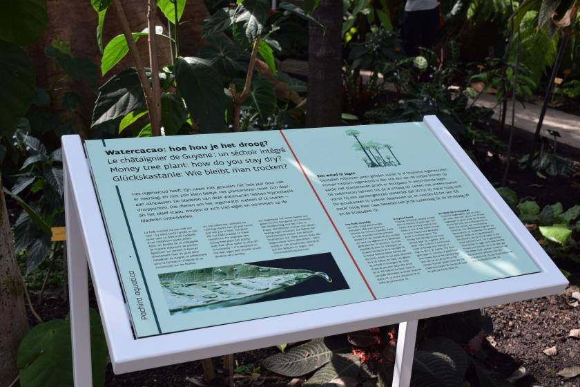 Een informatiepaneel in de Plantentuin Meise