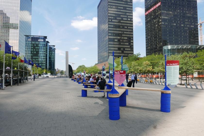 Een foto van de Noordwijk waar verschillende WTC-gebouwen op te zien zijn.