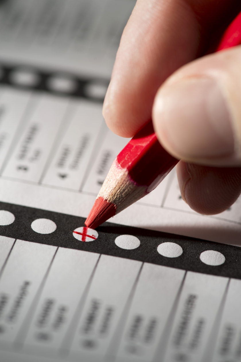 Een rood stempotlood en een stembiljet (Foto: BelgaImage/Jonas Hamers)