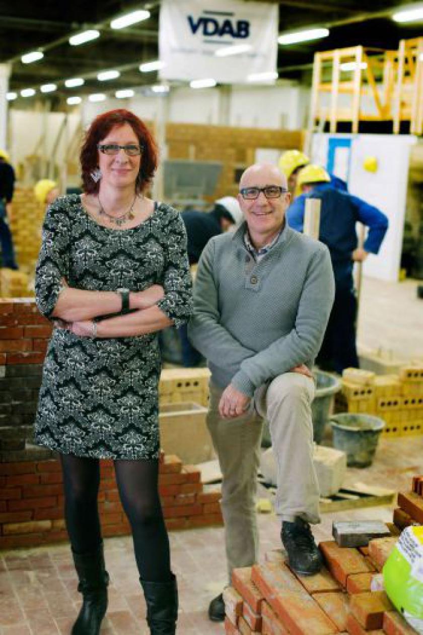 Solange en collega Koen op de werkvloer